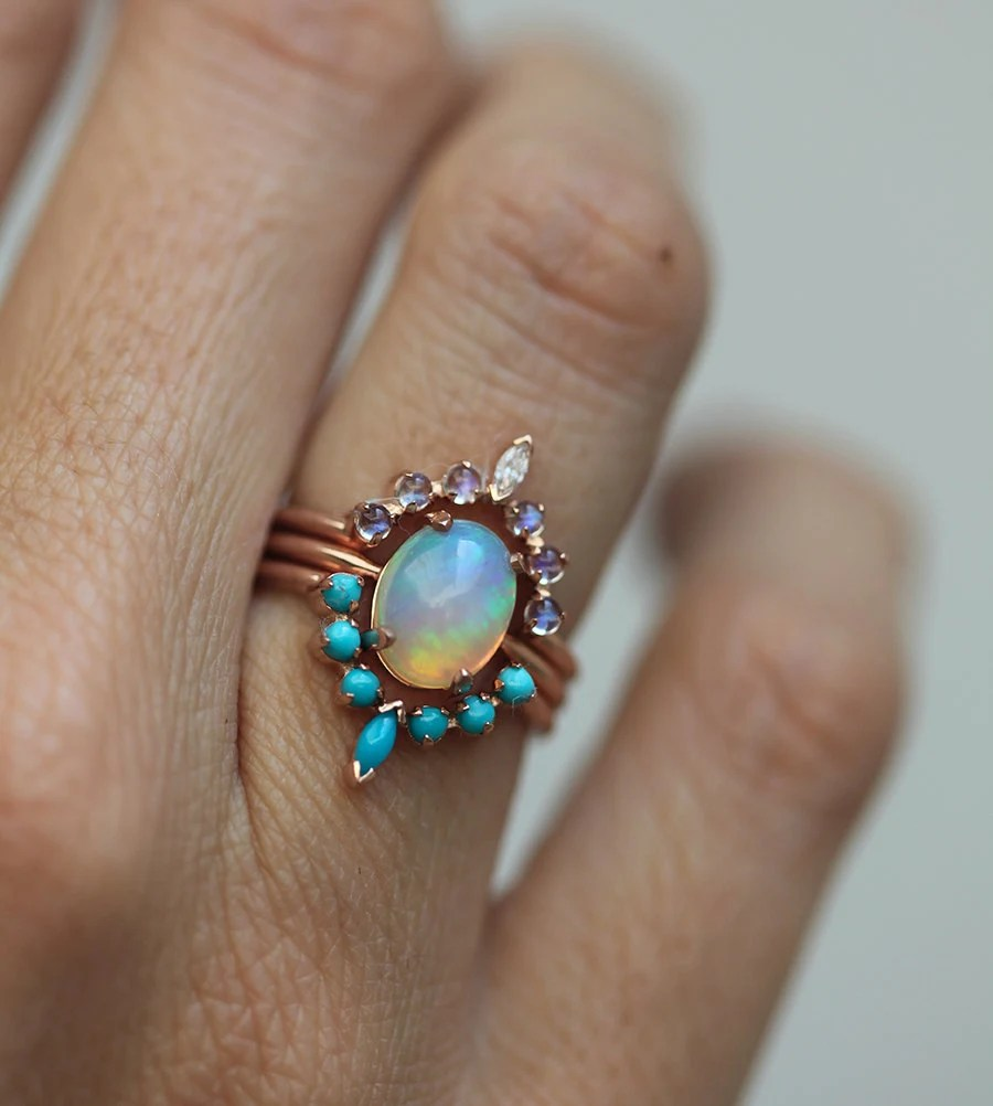 moonstone ring set moonstone wedding rings Ocean Engagement Ring Set Solitaire Fire Opal with Moonstone Ring and Curved Turquoise band Unique Wedding Ring Set Three Ring Set