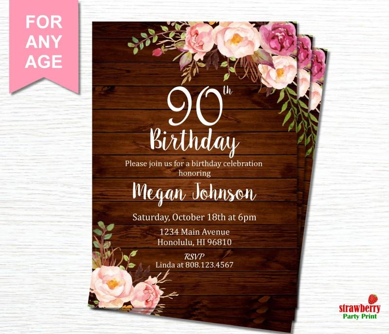 Large Of 90th Birthday Invitations