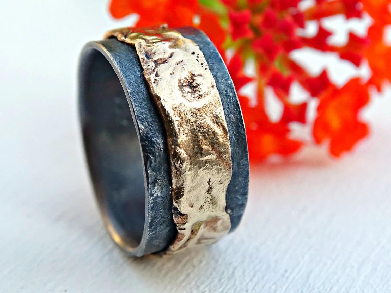 artisan wedding band viking wedding bands unique mens wedding band gold silver mens ring gold wedding ring black silver gold ring molten viking wedding band artisan gold ring