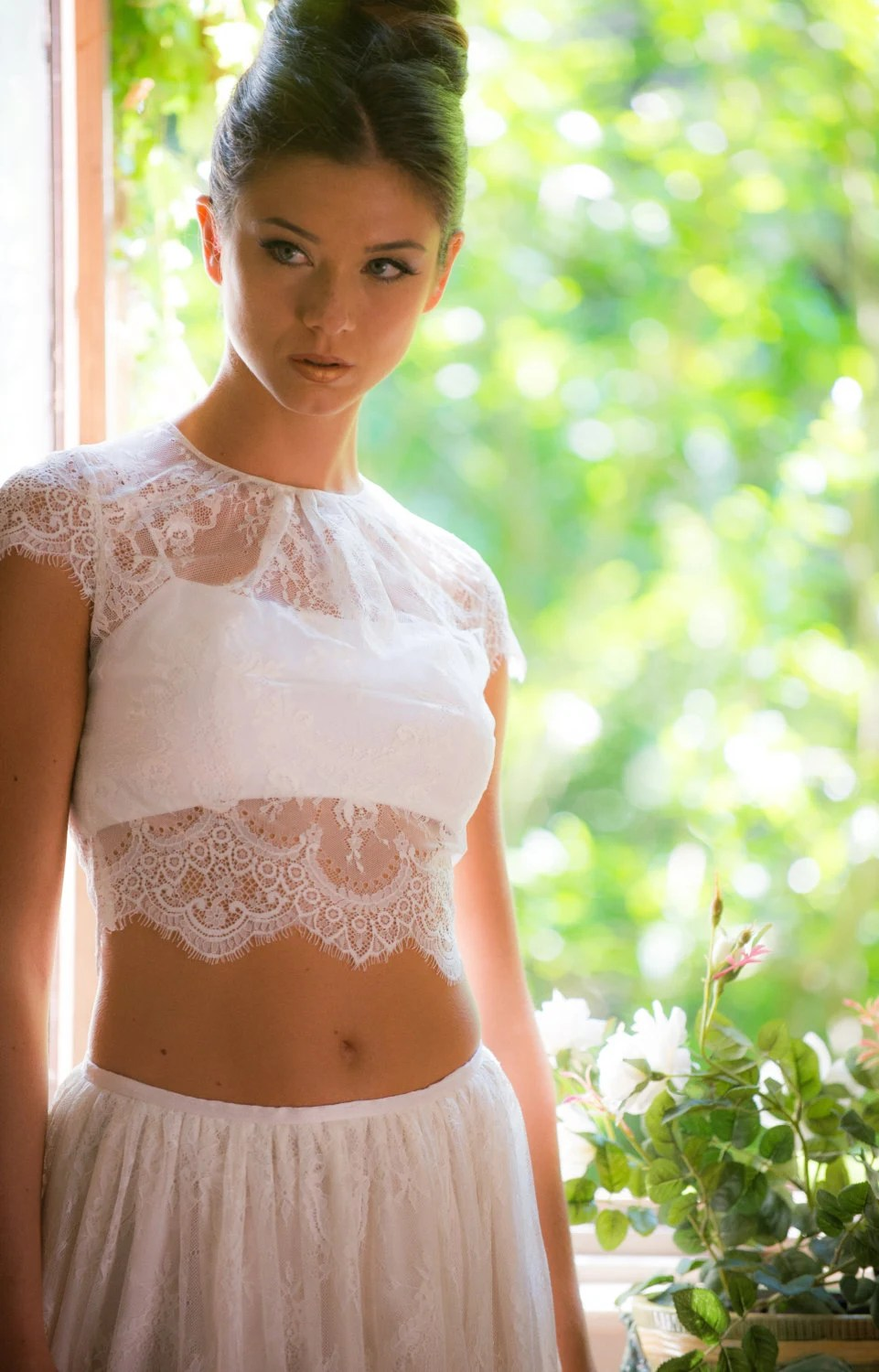 crop top wedding bustier for wedding dress Chantilly lace bridal crop top ivory lace bridal top cap sleeve bridal top button back bridal top crop top bridal gown wedding crop top