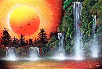 Orange picture Waterfall painting Spray paint Landscape