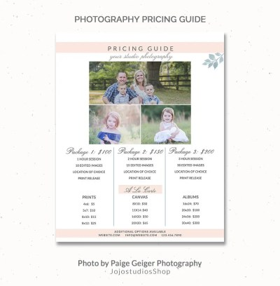 Lifestyle Photography Pricing Template Price List Pricing
