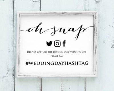 Oh Snap Wedding Hashtag Sign DIY Hashtag Sign Printable