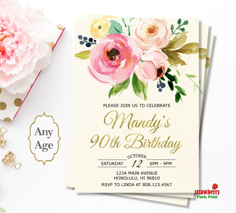 Large Of 90th Birthday Invitations