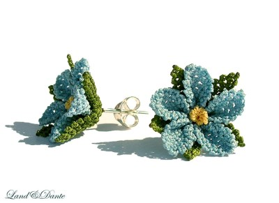 Sky blue earring, soft, light, baby blue, spring flower, green, fashion, crocheted lace