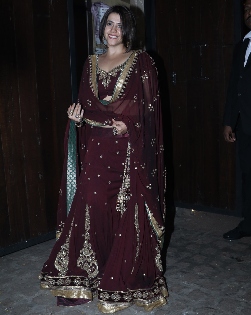 Ekta Kapoor attends Anil Kapoor's Diwali party hosted at his residence in Mumbai on October 19, 2017. (Image: Yogen Shah)