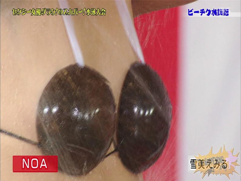 【お宝エロ画像】女優だらけのスカパー水泳大会で美女達が乳首刺激されて感じまくるww(ビーチク水鉄砲編) 26