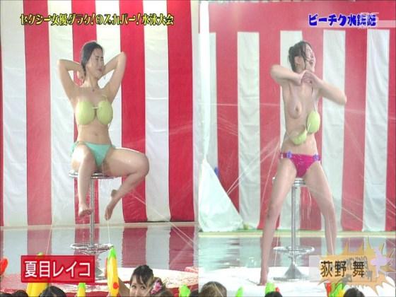 【お宝エロ画像】女優だらけのスカパー水泳大会で美女達が乳首刺激されて感じまくるww(ビーチク水鉄砲編) 48