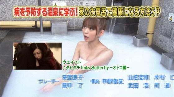 【放送事故画像】テレビでバスタオル一枚で映ると言うポロリ狙いな温泉レポww 04