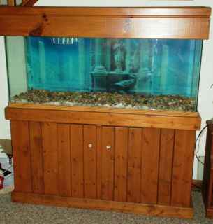 55 gallon fish tank oak stand 55 gallon aquarium with for Wooden fish tank