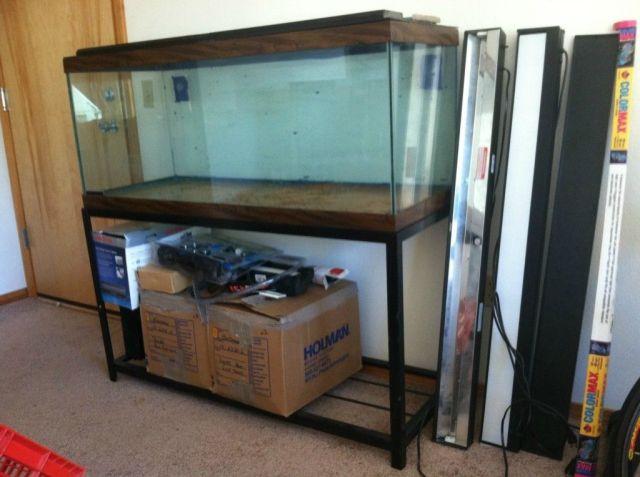 75 Gallon Fish Tank Aquarium w Large Cast Iron Stand Accessories