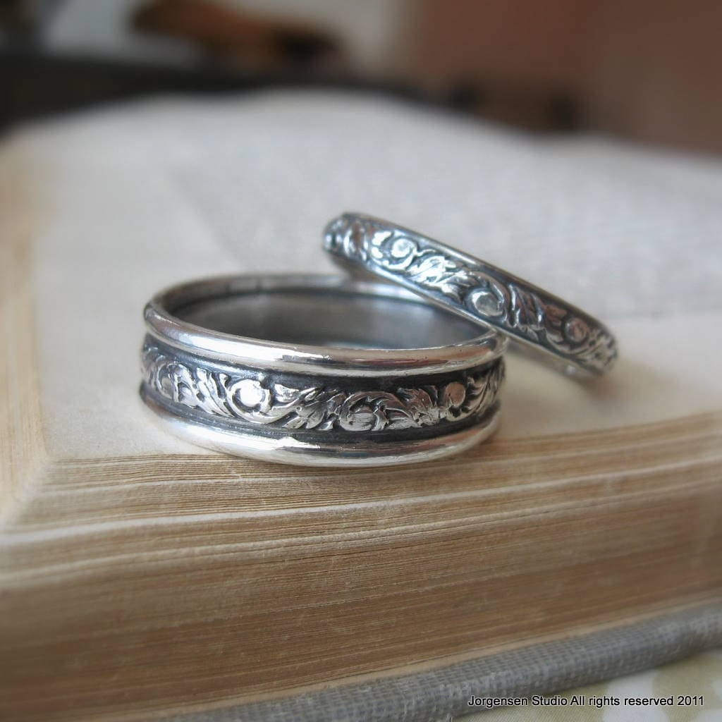 scroll wedding ring set sterling silver silver wedding ring Sterling silver Wedding Bands zoom