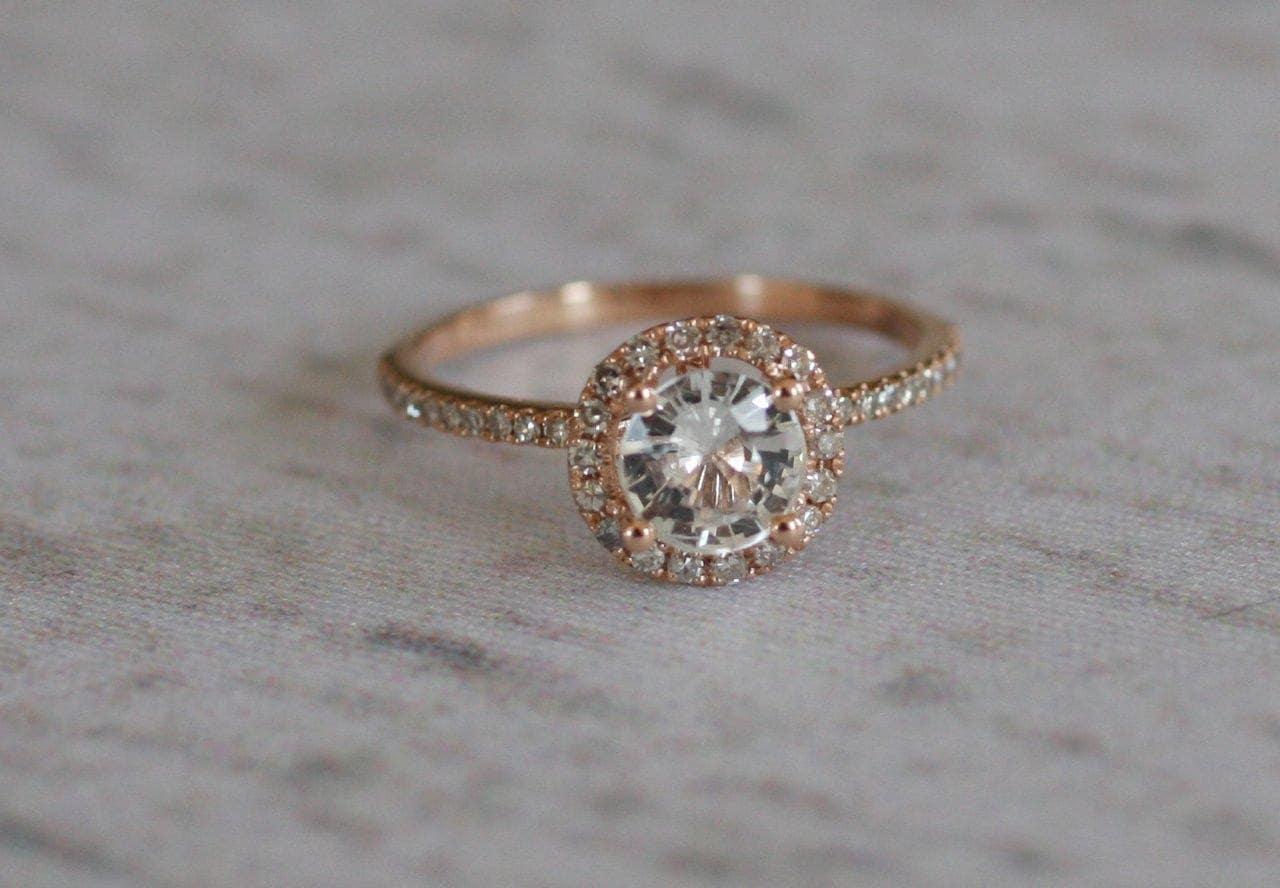 white sapphire diamond ring a 14k rose rose gold wedding rings ring a 14k rose gold diamond setting zoom