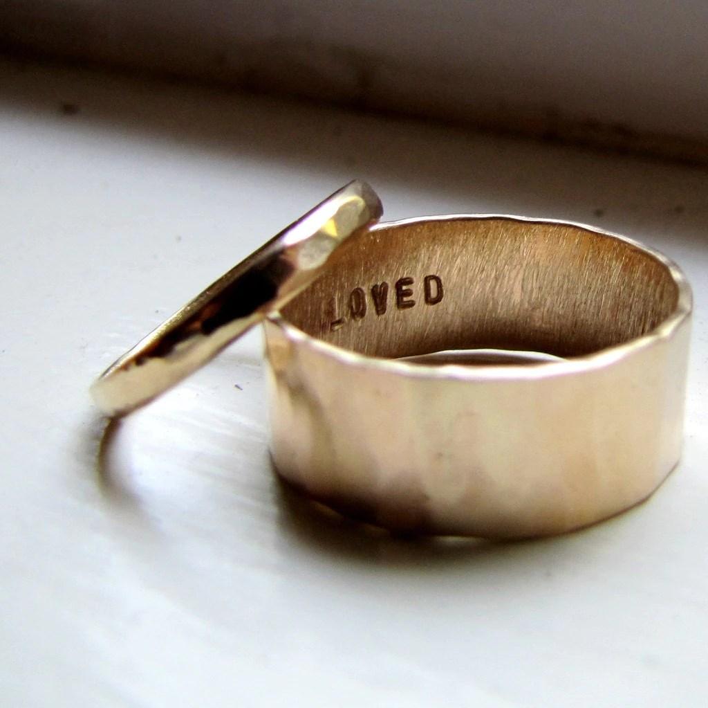 simple unique wedding band set of unique wedding ring sets Simple Unique Wedding Band Set of Hammered Gold zoom