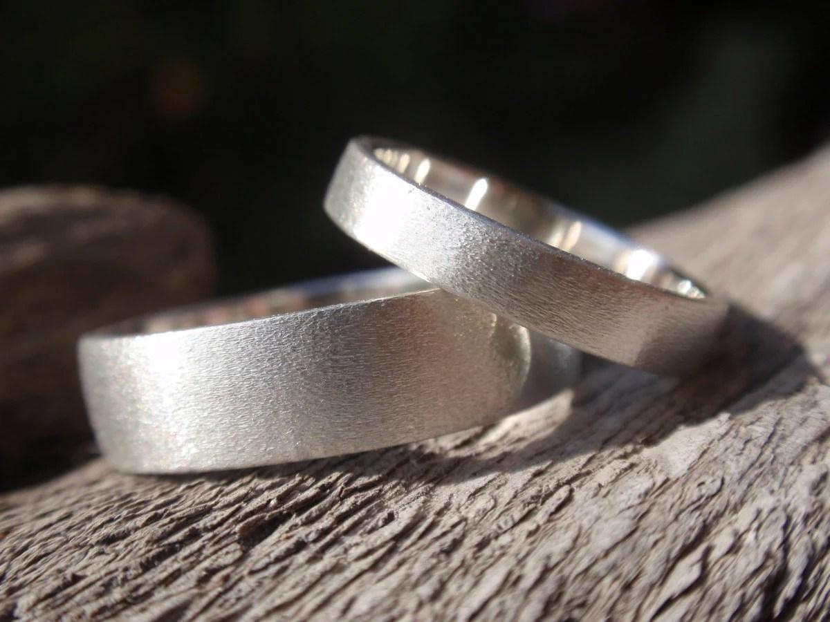 wedding bands set of 2 wedding ring set sterling silver wedding sets wedding ring set brush satin finish sterling silver zoom