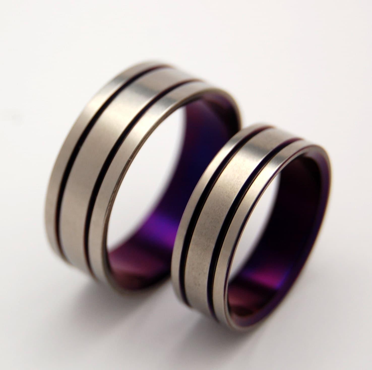 mens titanium ring mens wedding rings titanium Titanium Wedding Band Set purple wedding ring mens ring womens ring handmade ring custom made ring matching wedding set ALMA MATER