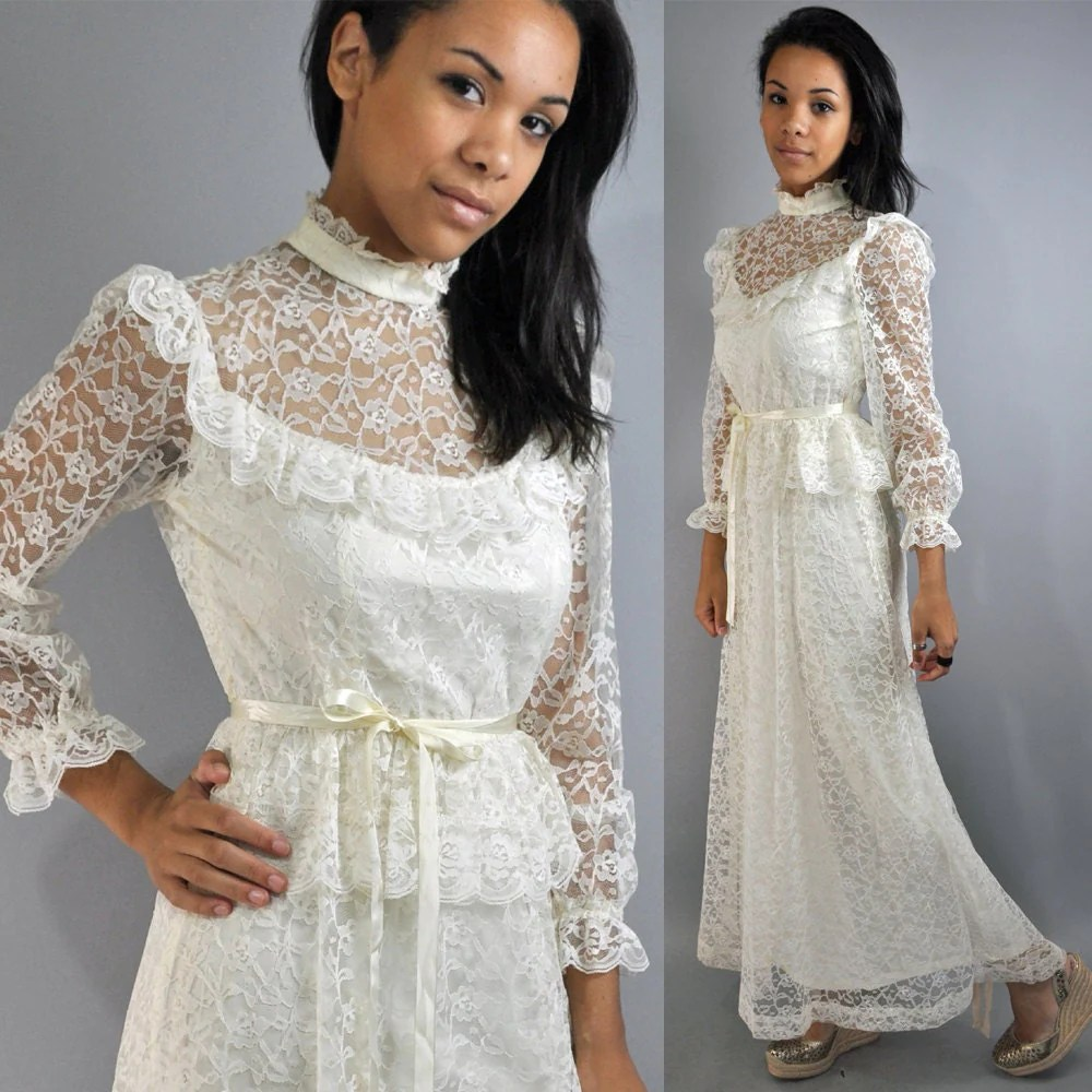 70s sheer cream lace victorian wedding victorian wedding dress zoom
