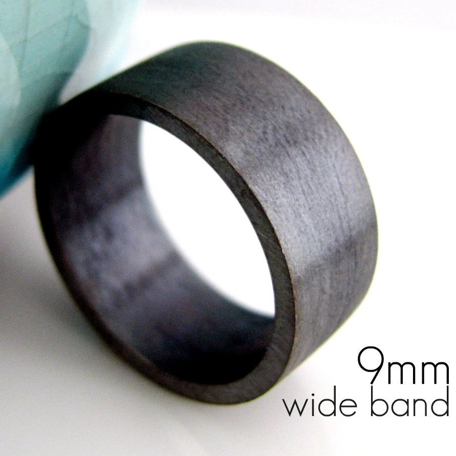 9mm wedding band black gold plated over black gold wedding band zoom
