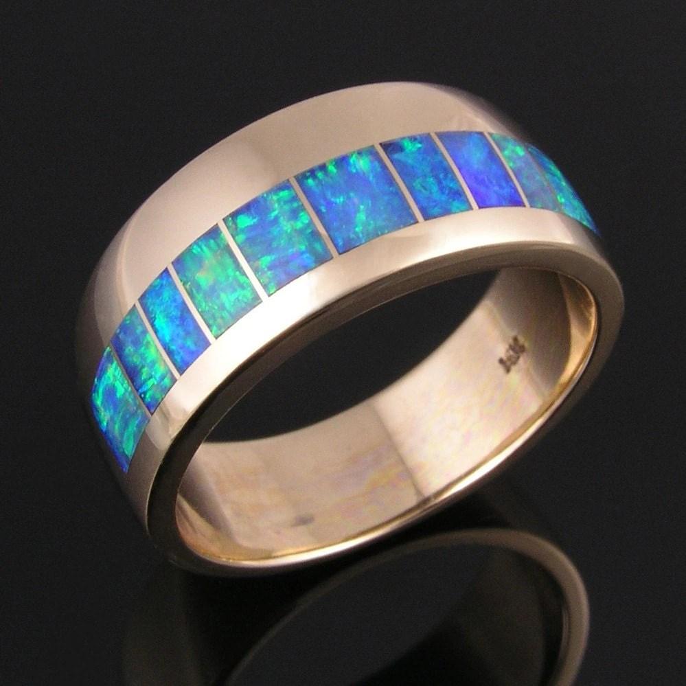 opal inlay ring navajo wedding rings Australian Opal Wedding Ring in 14k gold by Hileman