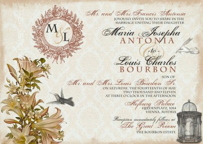 Vintage Wedding Invitation Sample Whimsical French Baroque