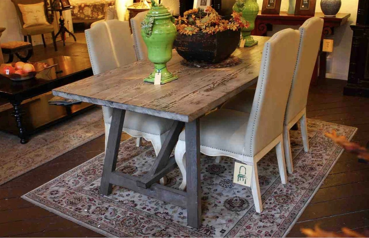 old wood sawhorse dining table built in solid wood kitchen tables zoom