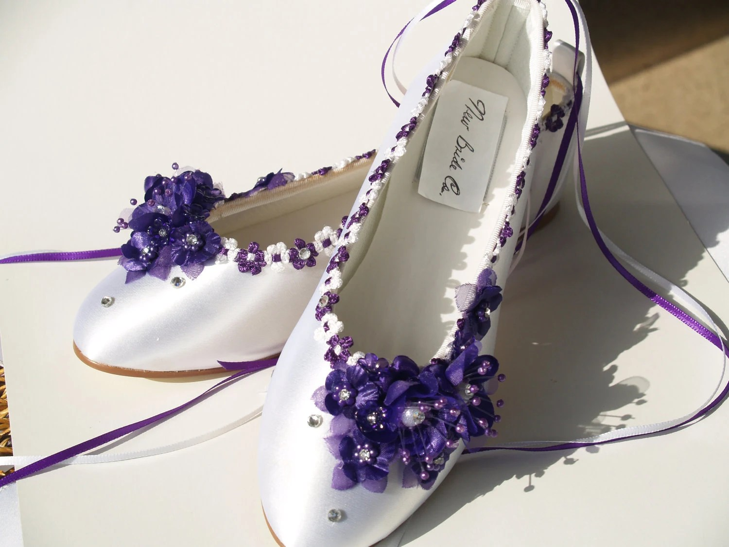 silk wedding shoes wedding slippers Wedding Flats Purple silk flowers pearls crystals and ankle ribbons Lace Up Ribbon Satin Ballet Style Slippers Closed Toe Deep Purple
