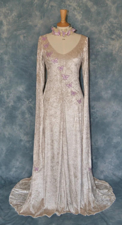melisande a fantasy faery elvish medieval wedding dress Medieval Wedding Dress Embroidered with Butterflies zoom