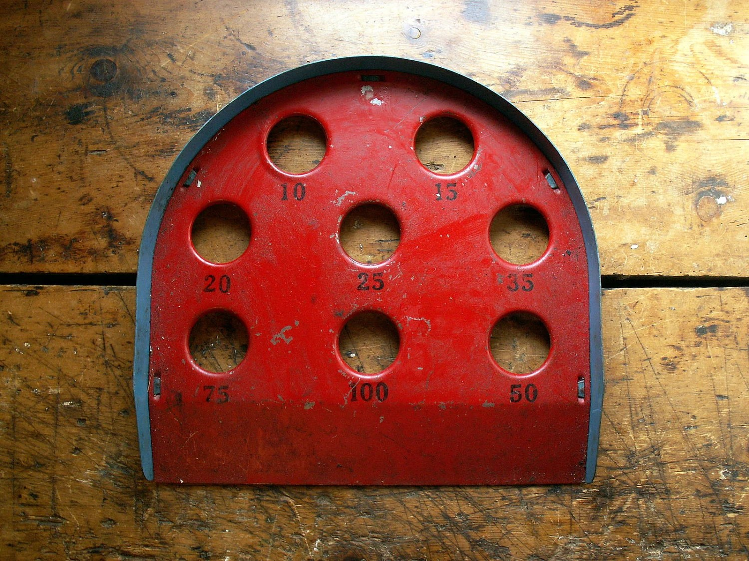 Vintage Metal Skee Ball Game - Red Game Board
