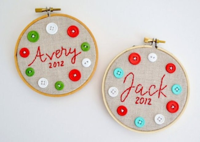 Personalized Christmas Ornaments/Custom Children's Gift-Button and Linen Embroidery Hoops by clementine jayne on etsy