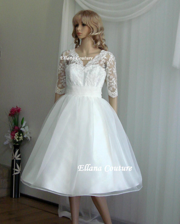 60s lace dress 60's wedding dress Ariel Tea Length Wedding Dress Vintage Inspired Design