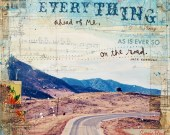 "Ever So - 8"" x 10"" paper print Jack Kerouac word art mixed media - rustic inspirational travel collage word art"