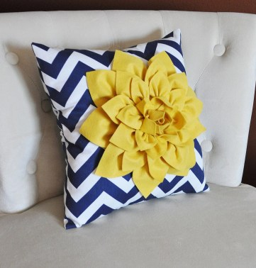 Chevron print pillow with flower from BedBuggs on Etsy