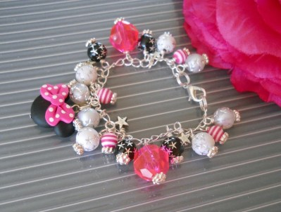 ADULT SIZE Disney Vacation Hot Pink Mouse Ears Charm Bracelet B061