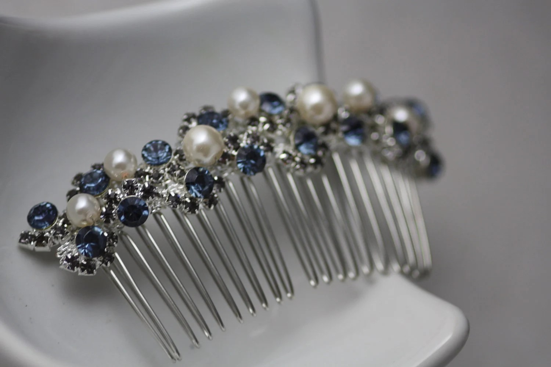 victorian hair comb wedding hair combs Moon Light Swarovski saphire and black diamond crystal and pearl bridal hair comb Wedding comb Hair accessories Bridal hair comb