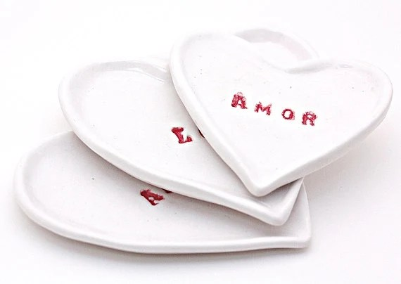 Porcelain Nesting Heart Dishes Set of 3 in White and Red Writing Love Amour Amor So Romantic MADE TO ORDER