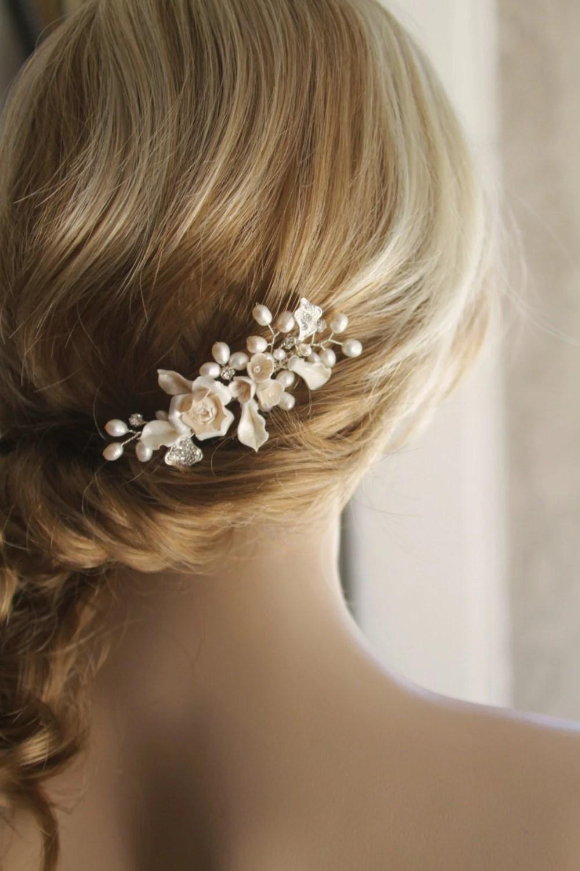 bridal hair comb wedding decorative wedding hair combs Bridal Hair accessories Creamy flower Bridal hair zoom
