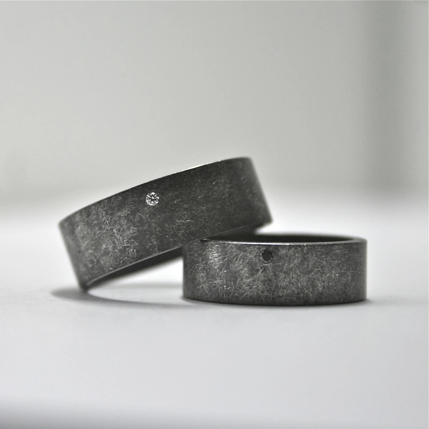 oxidized sterling silver and diamond black wedding ring sets zoom