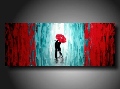 ORIGINAL Contemporary Fine Art Abstract White red and blue