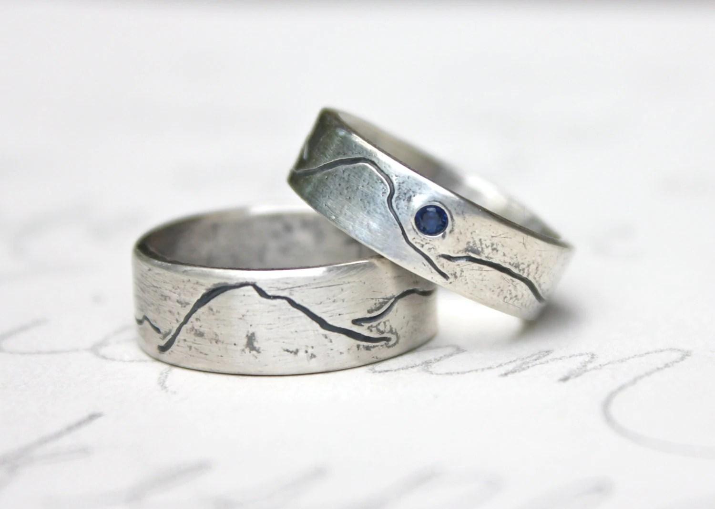 rustic mountain wedding band ring set alternative wedding bands zoom