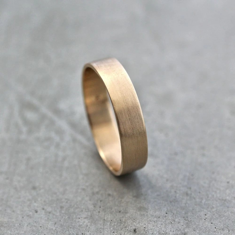 mens gold wedding band unisex 5mm wide mens gold wedding band Gold Wedding Ring zoom