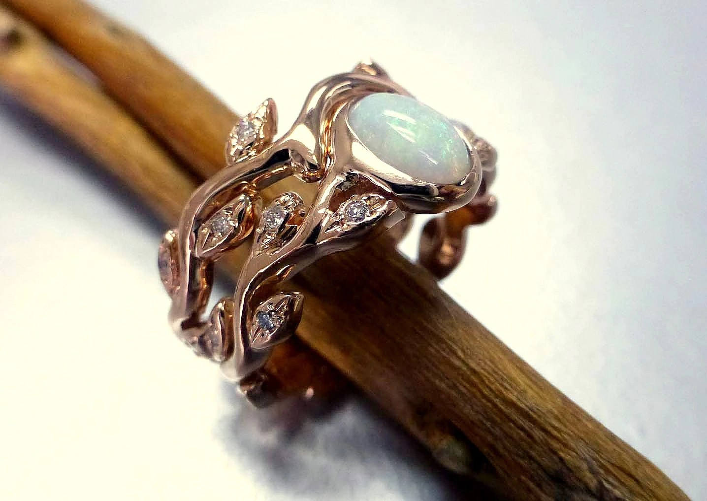 engagement ring with opal and diamonds opal wedding rings Leaf engagement ring set zoom