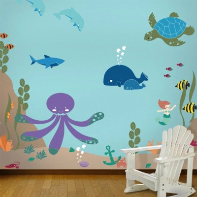 Under the Sea Wall Mural Stencil Kit for Kids Baby Room