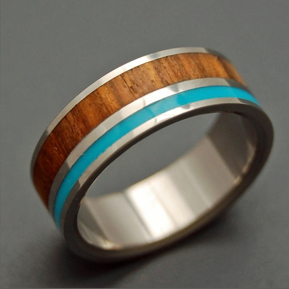 wooden wedding rings titanium ring turquoise wedding ring zoom