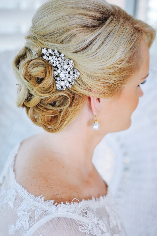 pearl hair comb wedding hair combs Crystal Bridal Hair Comb Swarovski Pearl Hair Comb Vintage Style Hair Comb Bow Bridal Hair Comb Bridal Wedding Hair Jewelry CADENCE