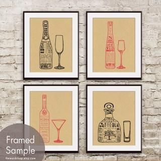 Wine & Alcohol Art via Etsy