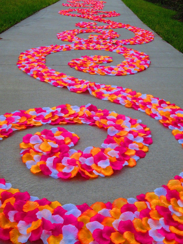 aloha pink orange white rose petal swirl wedding runners zoom