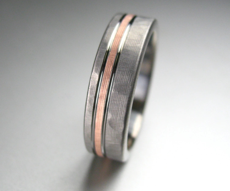 mens wedding band titanium rose gold tungsten hammered wedding band Men s Wedding Band Titanium Rose Gold Hammered Comfort Fit zoom