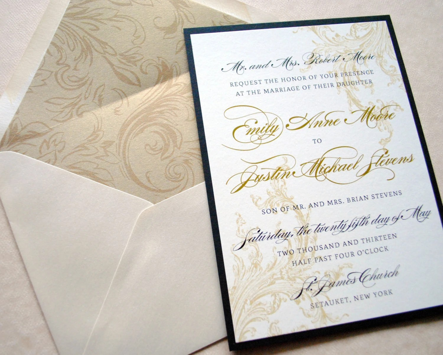 gold and black wedding invitations gold wedding invitations Wedding Invitations Black and Gold zoom