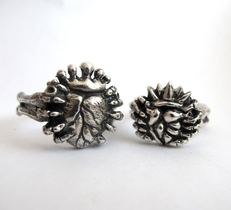 love in hand alternative anatomical claddagh wedding ring set Claddagh Wedding Ring Set Skeleton Hands Handmade zoom