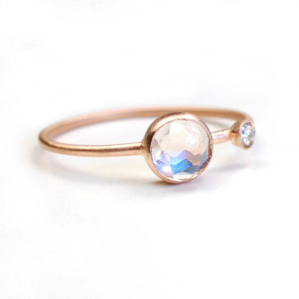 moonstone ring engagement ring rose cut moonstone wedding rings Moonstone Diamond Ring Asymmetrical zoom